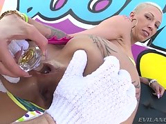 Mike lubes his giant cock and sinks it into her rectum. He reams her deeply, and Bella lewdly blows him ass-to-mouth. This nasty anal interview makes Bella`s well-fucked asshole gape widely!