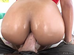 Tanned, busty Filipina Lana Croft spreads her ass cheeks for the camera, hungry for Mike Adriano`s big cock. She kneels and swallows the thick prick, gagging as he fucks her pretty face; Lana wetly bobs and slurps on his balls and bone until slobber cover