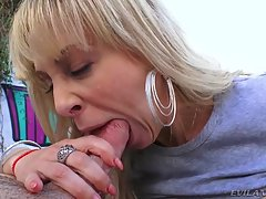 Cherie kneels to take the director`s giant prick to the back of her throat, gagging and slobbering. Lewdly she rims his bunghole. Mike`s massive cock pounds her rectum, making her anus yawn widely. Cherie enjoys a session of anal fucking, gaping and tasty